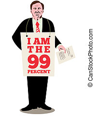 Occupy Wall Street 99% - illustration of American male...