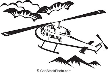 helicopter chopper flying - illustration of a helicopter...