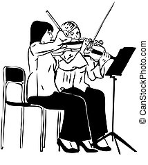 Sketch of two girls playing on the fiddle