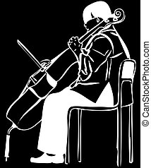 sketch of a woman playing a cello bow - a sketch of a woman...