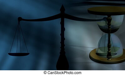 Hour Glass and Scales of Justice Looping Animated Background...