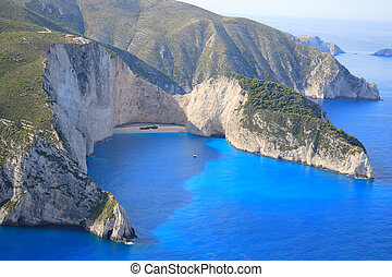 Aerial view on the island of Zakynthos - Aerial view on the...