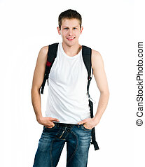Pretty young man on white background