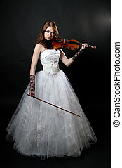 Girl in white dress with violin