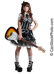 Cosplay girl in black dress with guitar - Cosplay girl in...