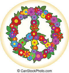 Flower Power - Peace sign made of flowers.