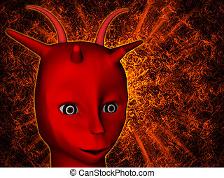 Red demon with horns