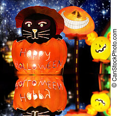 Happy Halloween - Lit up stylized Halloween composition of...