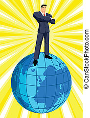 Conglomerate - Illustration of a businessman standing on top...