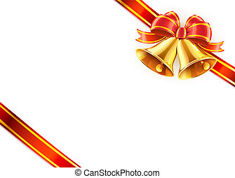 bow and ribbon wrapped - illustration of two Christmas...