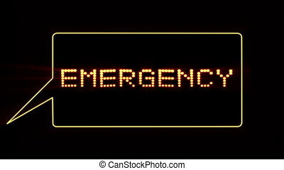 Emergency text in speech bubble