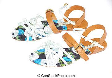 sandal  - female sandal on a white background