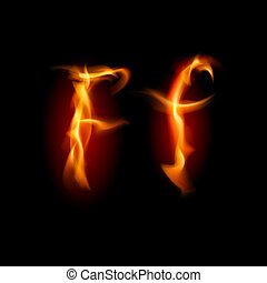 Fiery font. Letter F. Illustration on black background
