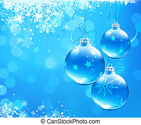 Christmas abstract background - illustration of Blue...