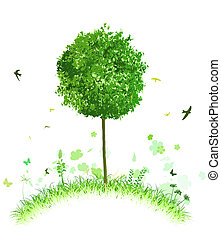 green landscape - illustration of single tree on a stylised...