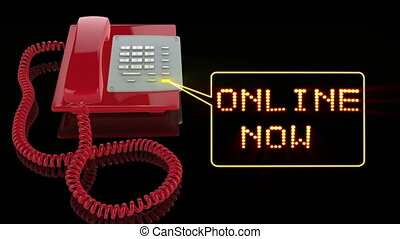 Emergency Red Phone with Online Now text