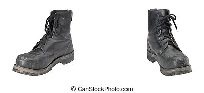 old combat boots - pair of old combat boots isolated on...