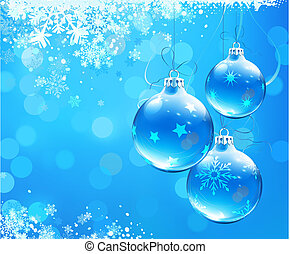Christmas decorations - Vector illustration of Blue...