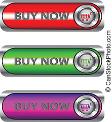 Metallic Buy now set - Vector set of Buy now buttons/icons...