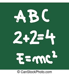 School board with abc, physics formula and mathematical...