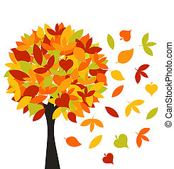 Autumn tree with colorful different leaves. Vector...