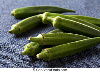 Lady fingers Okras - Gumbos on blue cloth