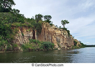 waterside Victoria Nile scenery in Uganda - waterside...