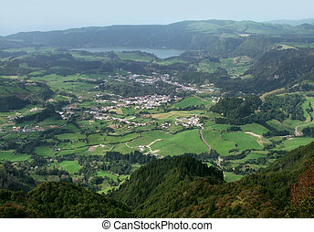 aerial scenery at the Azores - aerial scenery at Sao Miguel...