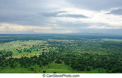 around Bwindi Impenetrable Forest in Uganda - aerial scenery...