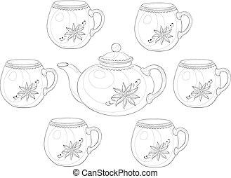 Ware, teapot and cups, set 3, contour