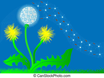background flower dandelion and flying fuzz - illustration...