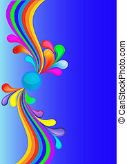 colorful background with rainbow and drop