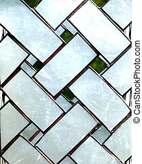 GLASS LATTICEWORK - Interlocking black and white stripes...