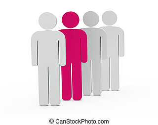 3d man leadership pink