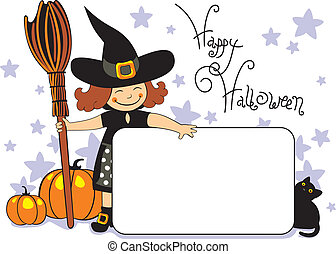 halloween witch with black cat and pumpkins