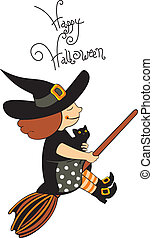 halloween witch with black cat flying on broom isolated