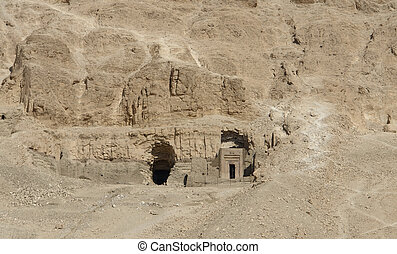 rock cut tombs in Egypt - rock cut tombs near the Mortuary...