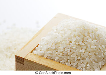 rice - Japanese white rice in the wooden square cup