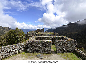 View of Ruins with Andes on the Inca Trail