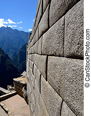 Inca Wall - Side of a Temple on Machu Picchu - Example of...