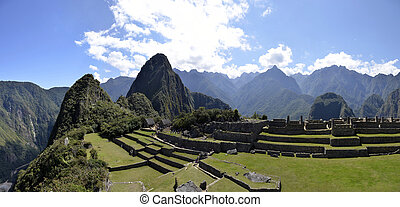 Terraces of Machu Pichu with Huayna Picchu - Panorama of...