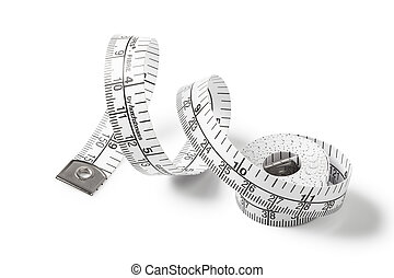Tape measure on isolated white background.