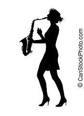 play a saxophone - girl play a saxophone on a white...