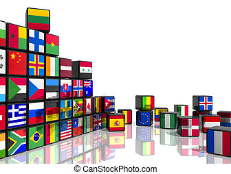 Collage from cubes with flags - Travel and world flags...