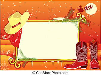Billboard frame with cowboy hat and boots.Vector christmasn...