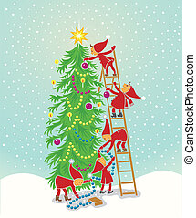 Christmas tree with elfs - 5 cute elfs decorating the...