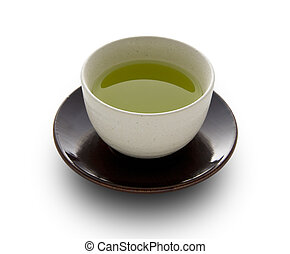 Green tea in a white cup on a white background