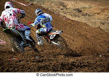 Racing dirtbikes