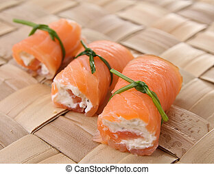 salmon roll with cheese