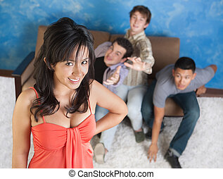 Attractive Girl with Boyfriends - Young men fight over each...